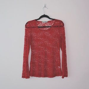 4/$25 ✨ Maurices | Red Allover Lace Top | Sz M